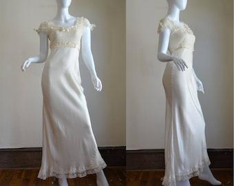 "1930s Cream Silk, Lace & Ribbon Gown ""Rosalind Fine Lingerie"" Vintage Glamour"