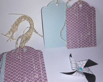 (Set of 10) - neutral blue and purple gift tag