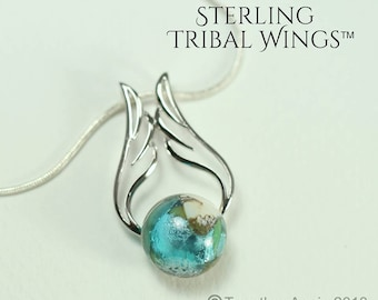 STERLING Tribal Wings™  in Reflections™ Memorial Jewelry Handmade Memory Glass Lampwork Bead with your pet's remains, hair. pet memorial