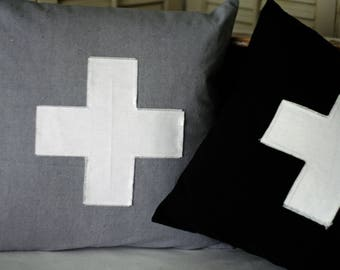 "18"" Pillow Cover Swiss Cross Applique Envelope Style Closure"