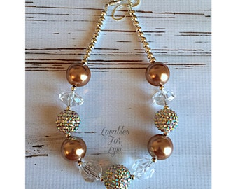 Brown and Gold Fall Bubblegum Necklace Rhinestone Adjustable Chunky Baby Toddler Girls