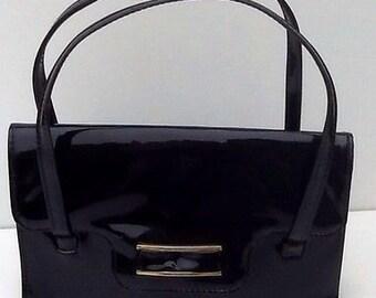 Vintage Kelly Handbag - Glossy Black Patent - 1960's