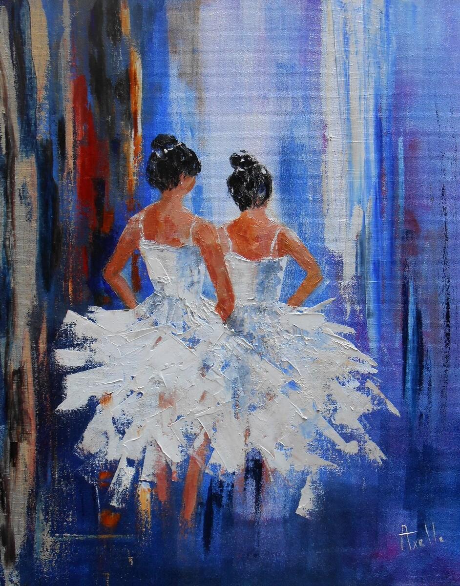 tableau danse deux danseuses classiques peinture huile au. Black Bedroom Furniture Sets. Home Design Ideas