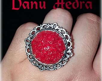 RING salt red wicca amulet