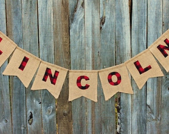 Lumberjack Banner, Personalized Name Burlap Bunting, Customized With Your Name and Colors