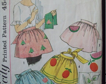 Vintage Apron Pattern 1960s Simplicity Pattern 4180 One-Yard Half Apron Variety with Applique and Cross Stitch