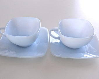 Mid Century Modern Fire King Anchor Hocking Charm Pattern Cup and Saucer in Azurite Blue