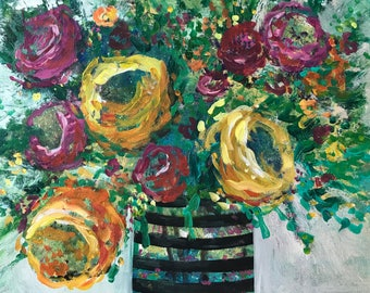 Happy Place | original acrylic painting of pink and yellow ranunculus/roses in a black striped vase | flower arrangement, botanical, floral