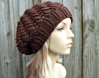 Chocolate Brown Knit Hat Brown Womens Hat Brown Slouchy Hat - Winter Cyclone Beret - Brown Hat Brown Beret Brown Beanie Womens Accessories