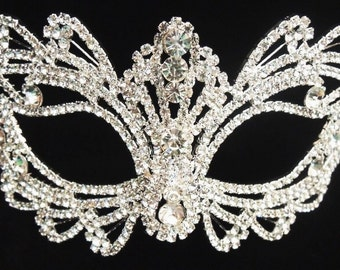 "Best sell - Rhinestone crystal  masquerade mask -wedding mask -Halloween mask -cake topper -table setting 7"" x 3."