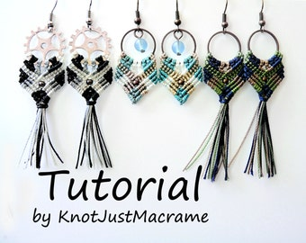Gypsy Earrings Tutorial DIY Pattern Instructions Micro Macrame
