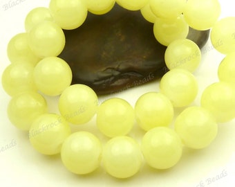 10mm Lemon Chiffon Round Glass Beads - Smooth, Shiny Beads - 20pcs - BL23