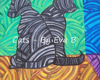 Black Cat Art Abstract Painting Gift for Cat Lover Home Decor Kittens Kitties Kitty Artwork Green Blue Black Grey Gray Yellow Brown Purple