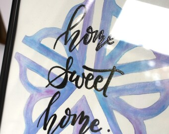 """Watercolor """"home sweet home"""" - Rochester, NY - made to order, custom colors"""