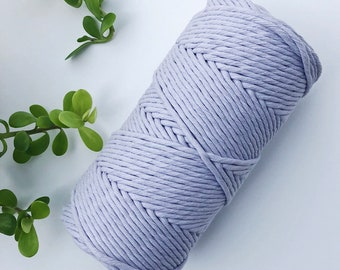 Macrame raw cotton rope lilac, single strand, rope 3mm or 5 mm, 100 % cotton, natural color, non twisted, twine