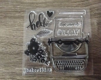 Clear Typewriter Flower Stamp for Journaling