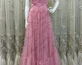 Vibrant rhinestone 50s pink formal gown