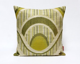 Green Mid Century Pillow Cover - Vintage fabric Cushion Cover 16x16 Handmade by EllaOsix