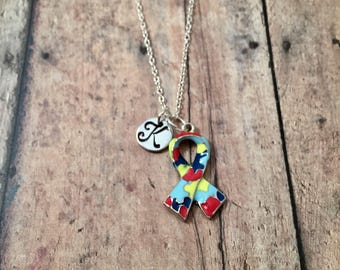 Autism puzzle piece ribbon initial necklace - Autism jewelry,  puzzle piece ribbon jewelry, Autism necklace, Autism awareness necklace