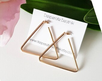 XL minimalist gold tone hoops earrings