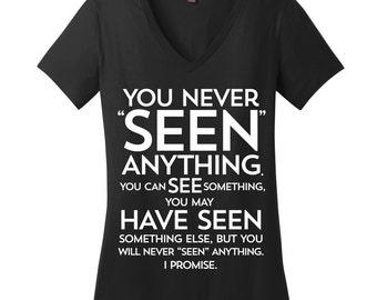 Seen See Grammar Shirt Womens Grammar Tshirts Funny Shirts with Sayings Sarcastic Tshirts Editors Picks Christmas Picks for Her Comfy V Neck