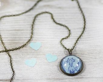 Fox Necklace - Jewelry - Blue Necklace - Art Jewelry - Fox Jewelry - Vintage Style Jewelry (0-32N)