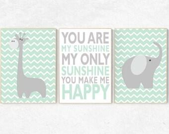 Mint nursery decor, You are my sunshine my only sunshine, mint gray, elephant nursery, kids room decor, mint green nursery decor, playroom