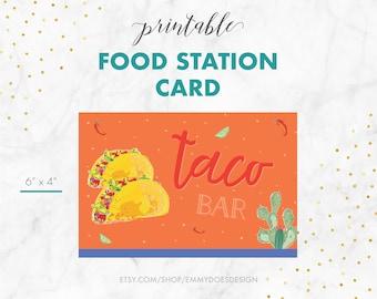 Food Station Card - Taco Bar - Fiesta Invitation, Cinco de Mayo, Mexican Fiesta, Taco Party, Happy Hour, Adult Party Invitation