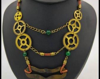 Necklace Steampunk gears