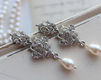 Art Deco Earrings , Vintage Style Crystal Earrings, Statement Earrings, Wedding Earrings, Pearl  Drop Earrings,  Stud Earrings, Great Gatsby