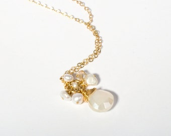 Delicate Gold Necklace, Gold Necklace, Gold Cluster Necklace, Gemstone Necklace, Gold Layering Necklace, 14K Gold Necklace, Gold Jewelry