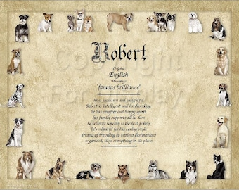 Dog Lover's Personalized Name Meaning Print
