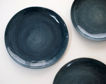 Stoneware Plates, Dinner Set glazed in dark blue. Ceramic Plate blue. Blue Pottery Dishes. Handmade Pottery Stoneware Dinnerware.