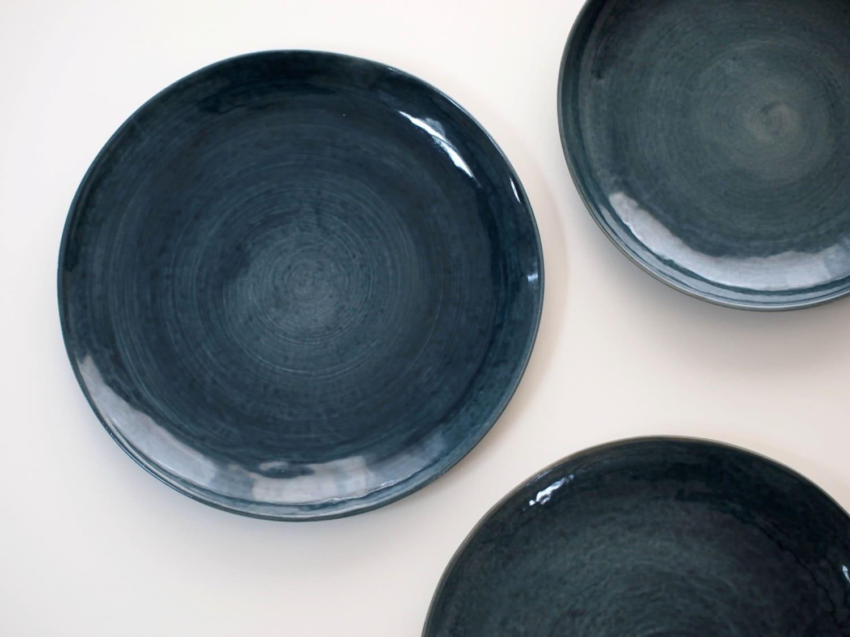 🔎zoom & Stoneware Plates Dinner Set glazed in dark blue. Ceramic