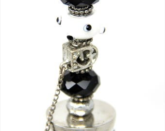 Black and White Bottle Stopper, Wine Topper, Bumpy Bead Bottle Topper, Fun Bottle Topper