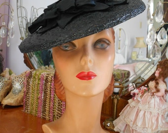 Beautiful 1940's Black Shiny Straw Tilt Hat with Bows