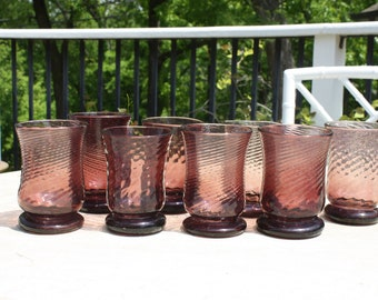 Set of 8 Mid-Century Hand-Blown Amethyst Pontil Glasses Made in Mexico