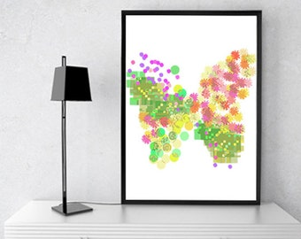 Butterfly,8x10 8x12 8.5x11 And Different sizes, Spring, Multicolor, Abstract Print, Poster, Art Print, Wall Art, Decor, Print Download NO 07