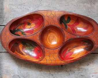 vintage serving dish, tray / handcarved wood hors d'oeuvres platter