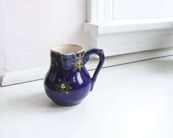 Antique French Creamer with Side Handle, Stoneware, Blue with Raised Floral Glazing, Gilding, Kitchen Decor, Gift for Her