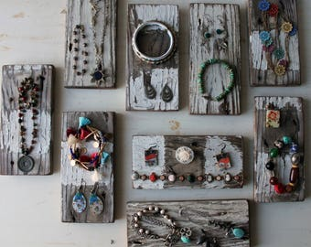 One Jewelry Display Block - Chippy White Weathered Gray Necklace / Bracelet / Ring Display - Repurposed Fence Pickets