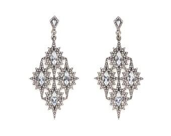 Ice Crystals Silver Vintage Chandelier Earrings, Vintage Chandelier Earrings, Bridesmaid Earrings, Wedding Earrings, Bridal Earrings