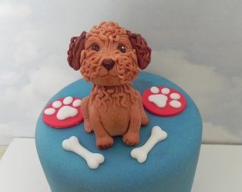 Cockapoo edible cake topper, dog topper, birthday cake