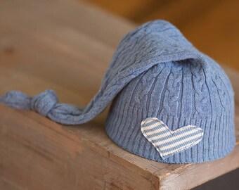 Newborn Hat, Blue Newborn Hat, Newborn Boy Hat, Upcycled Newborn Hat, Newborn Photography Prop, Newborn Coming Home Hat, Newborn Knot Hat