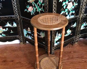 Vintage Wooden 2 Tier Accent Table with Basket Weave  on Shelf Plant Stand Housewarming Gift Retro Style