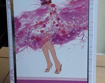 Greeting Card, lady dancing, pink, beads