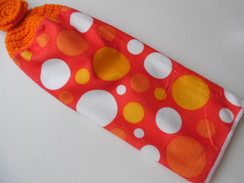 Orange Tupfen häkeln Top Küche Handtuch Geschirrtuch