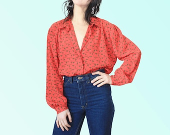 80s Red Satin Blouse with Triangle Pattern New wave Vintage VTG Button Up Shirt Secretary Blouse