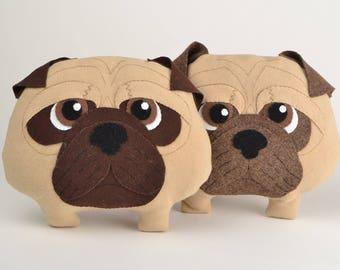 PUG DOG pillow, plushie, pet gift, nurcery decor, animal stuffed toy, cushion