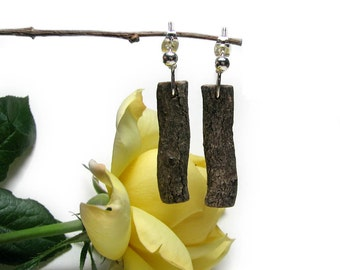 Unique Magnolia Rustic Twig Wooden Earrings by Tanja Sova
